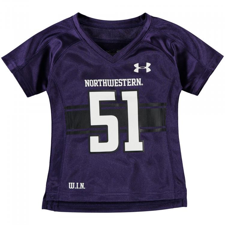 Northwestern Wildcats Under Armour Girls Toddler Replica Football Performance Jersey - Purple