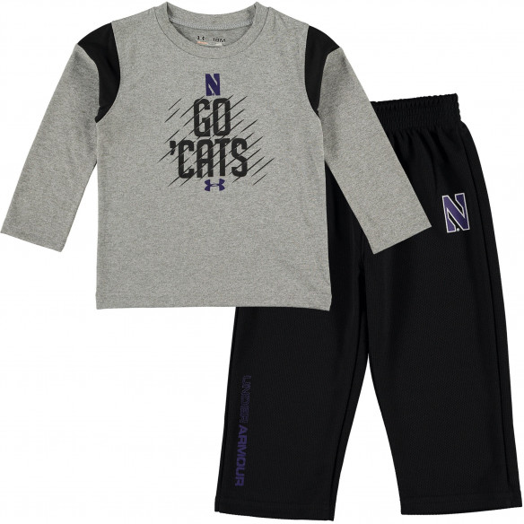Under Armour Northwestern Wildcats Infant Gray/Black Long Sleeve Performance T-Shirt and Pant Set
