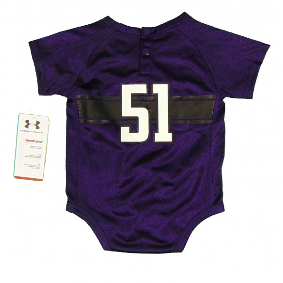 51 Northwestern Wildcats Under Armour Newborn & Infant Bodysuit Replica Performance Jersey Purple