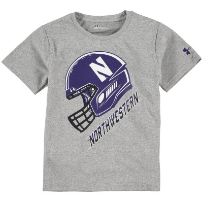 Northwestern Wildcats Under Armour Toddler Helmet Performance T-Shirt - Gray