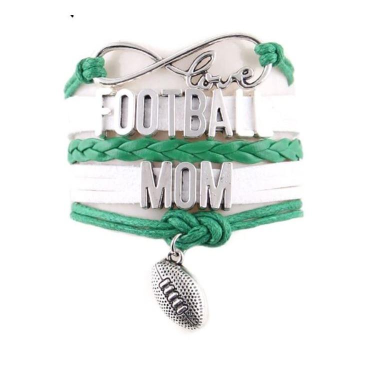 """""""Love Football Mom"""" Juwelry Bracelet for football moms white-green"""