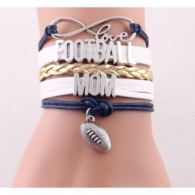 """""""Love Football Mom"""" Juwelry Bracelet for football moms navy-white-gold"""