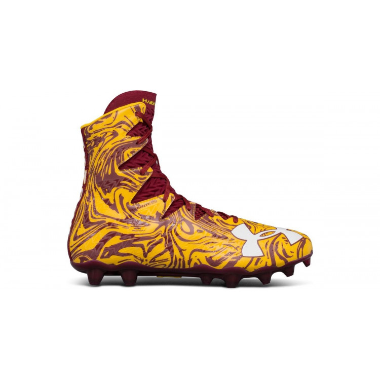 Under Armour Highlight maroon/yellow - Buty Futbolowe